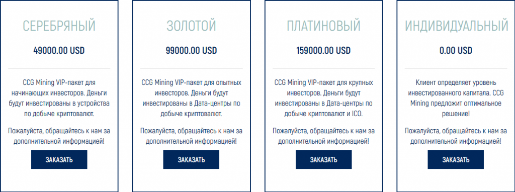 CCG mining vip-пакеты